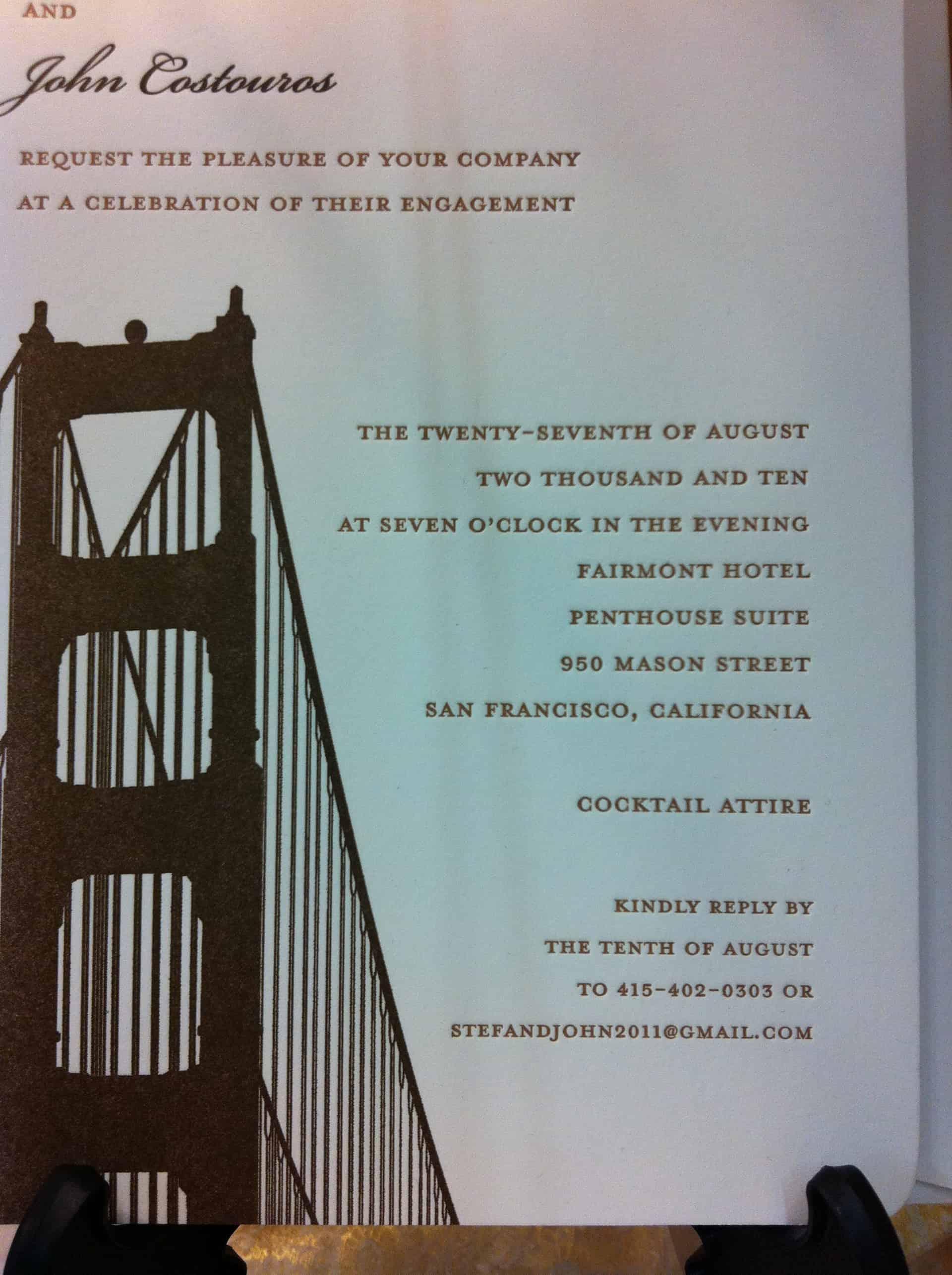 Golden Gate Custom Invitation