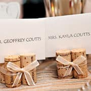 place cards on corks