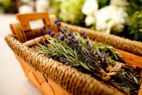 Lavender Flowers in rustic basket