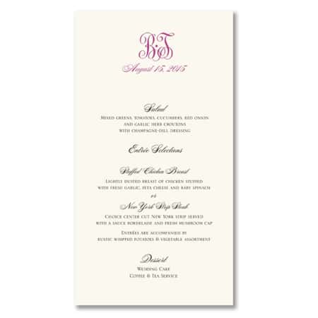 Truly Weddings by William Arthur Wedding Menu Cards