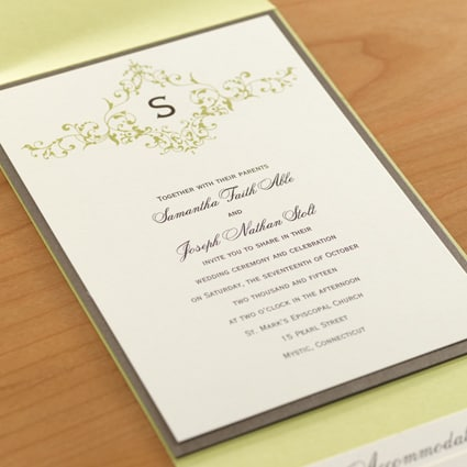 Pocket wedding invitations from carlson craftinvitations with the names of the bride groom are in script font while the body of the pocket wedding invitation is in block font style also in brown ink stopboris Image collections
