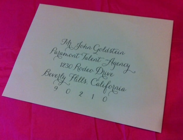 calligraphy for envelope addressing using hand scrip pro