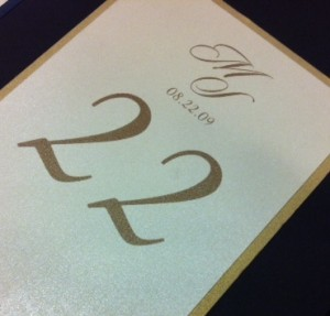 Wedding Calligraphy for Table Number 22