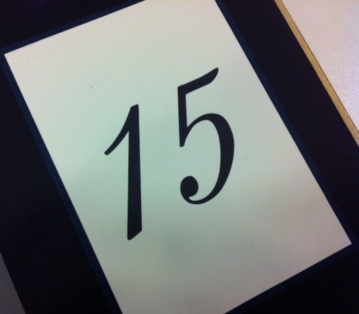 Wedding Table Number 15 Calligraphy