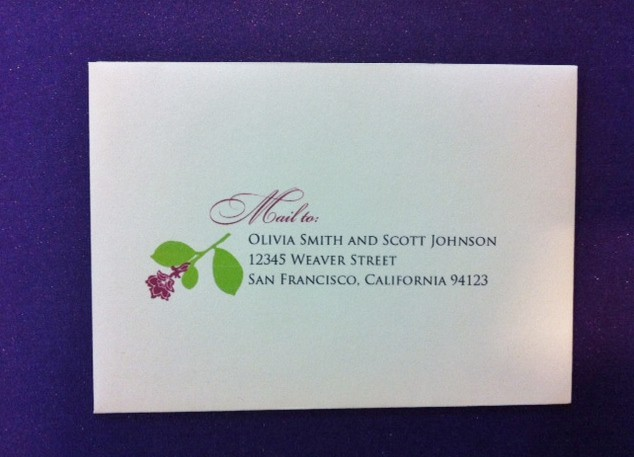 Wedding Envelope Addressing with Flower Motif for Wedding Invitation Resonse Card Envelope