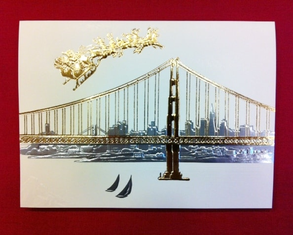 san francisco city holiday cards with golden gate bridge and santa
