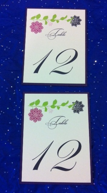 Wedding Table Number & Wedding Table Number Calligaphy