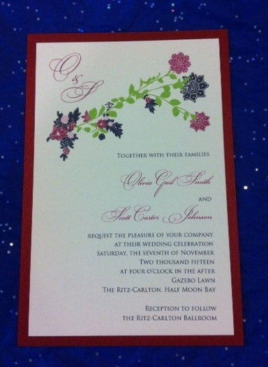 Calligraphy printed Custom Wedding Invitation with Flower Motif