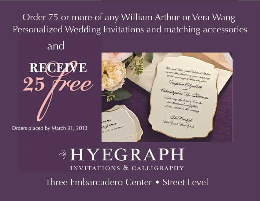 hyegraph invitations and calligraphy wedding invitations promotion in san francisco