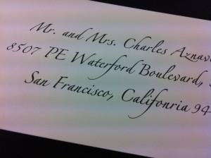 Calligraphy printed on envelopes for addressing