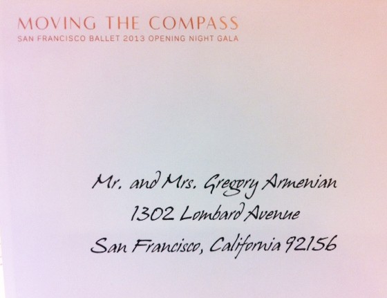 Envelope Calligraphy for Moving The Compass SF Ballet 2013 Opening Night Gala Invitations