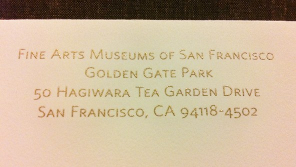fine_arts_museums_of_san_francisco_golden_gate_park_tea_garden_drive_san_francisco_calligraphy_return_address_invitation_envelope