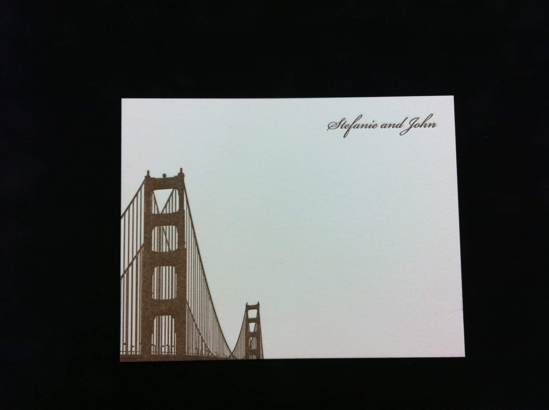 wedding thank you cards in letterpress with san francisco golden gate bridge in letterpress