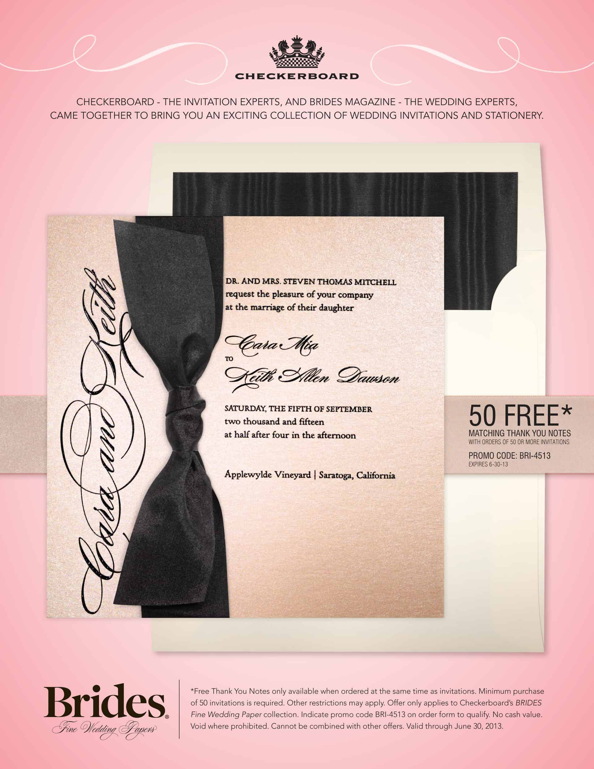 Checkerboard Wedding Invitation Promotion At Hyegraph Embarcadero