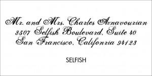 Wedding Calligraphy Selfish