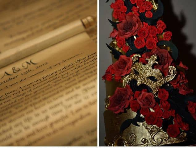 Masquerade Wedding Gold Scrolls