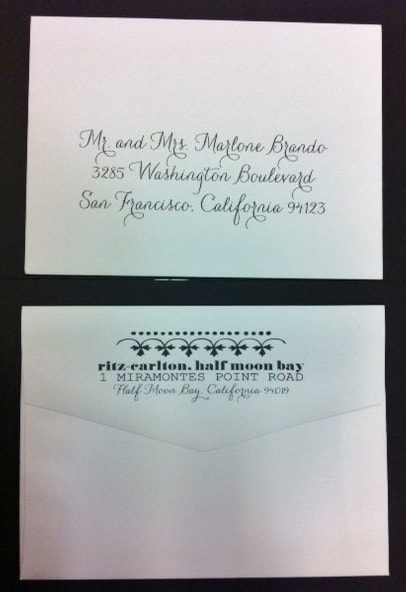 Calligraphy for Envelope Addressing using Hand Pro Calligraphy and Return Address printing on the envelope flap with design motifs