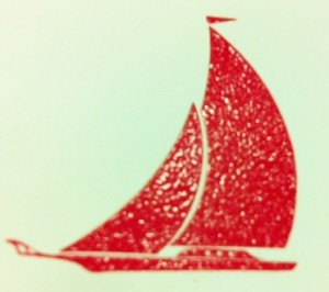 Luis Vuitton Cup Invitation Sail Boat Art work in Crimson Red www.hyegraph.com