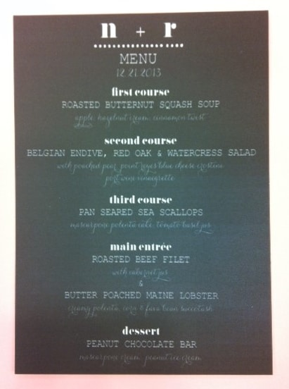 Chalkboard Style Wedding Menu Card created for wedding at the Ritz.