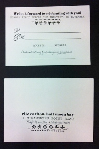 response card for wedding invitation