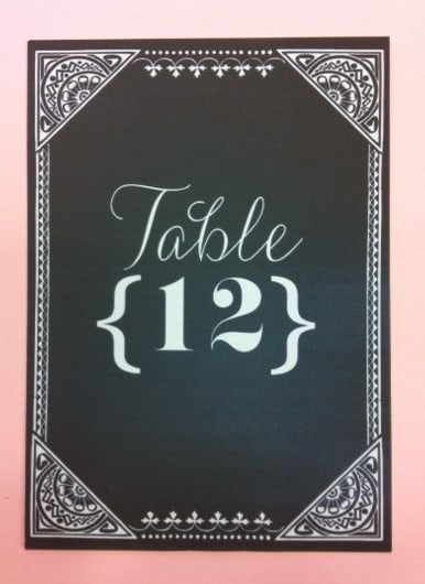 Chalkboard Style Table Number Card created for Ritz-Carlton, Half Moon Bay, California by www.hyegraph.com