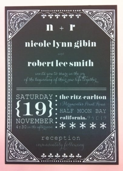 Chalkboard Style Wedding Invitation designed and printed by Hyegraph for Ritz-Carlton, Half Moon Bay, California