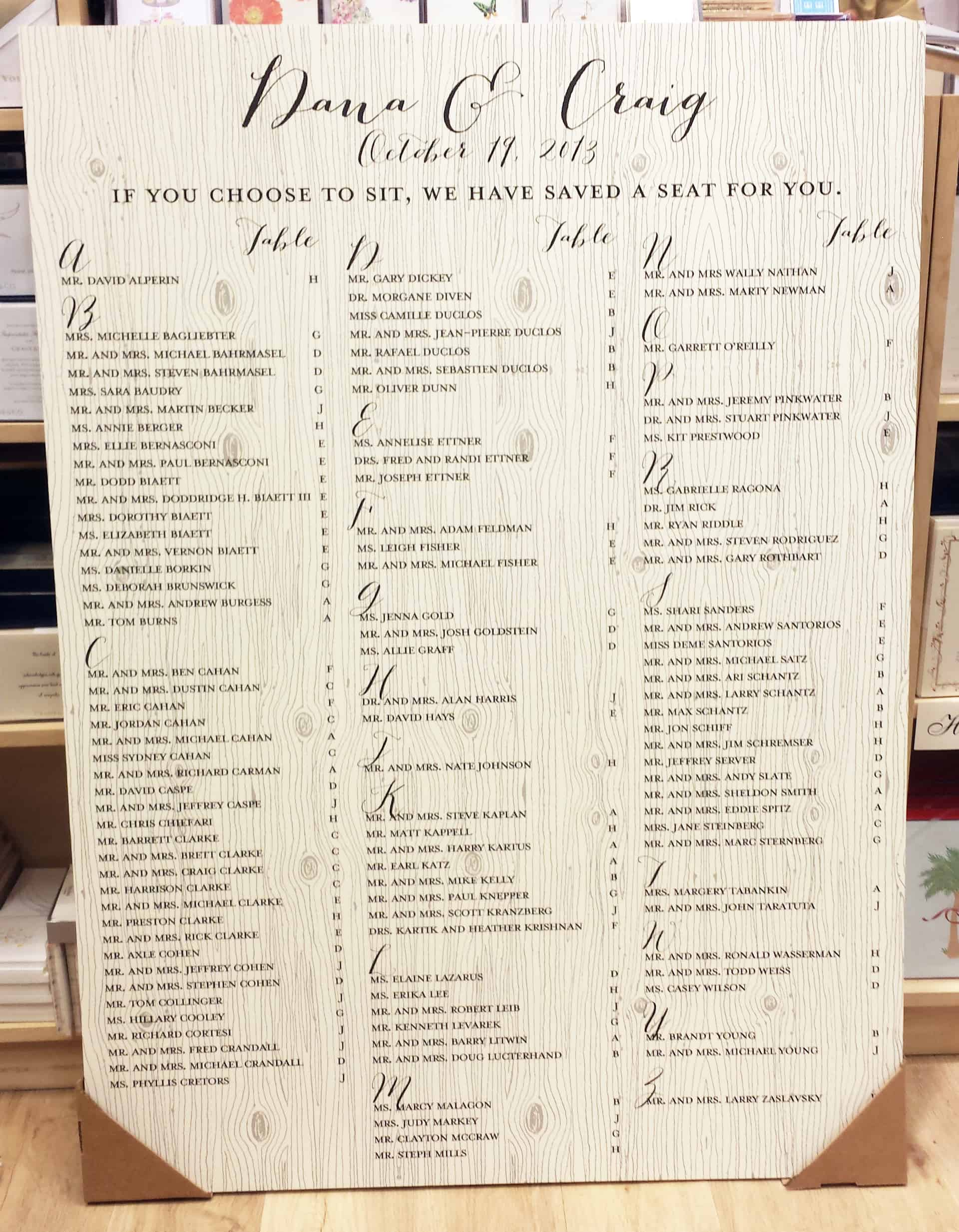 Wedding Seating Chart Wood Grain