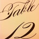 Custom Wedding Table Calligraphy