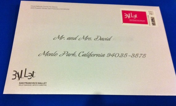 San Francisco Ballet 2014 Fashion Show Invitation Envelope Calligraphy Addressing