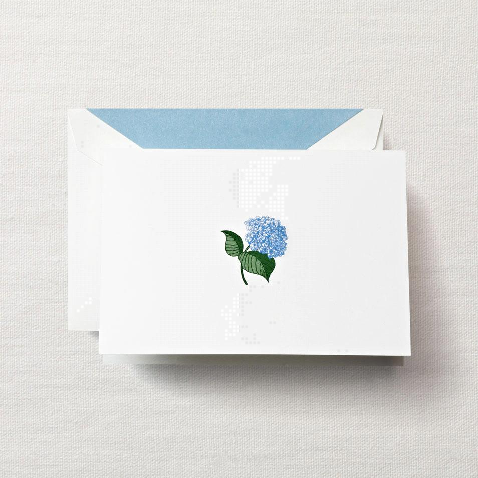 Hand Engraved Blue Hydrangea Notes