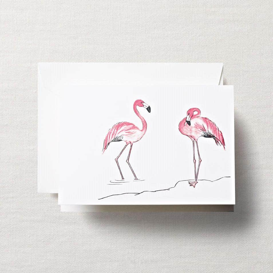 Crane & Co. Fine Stationery pink flamingo note cards