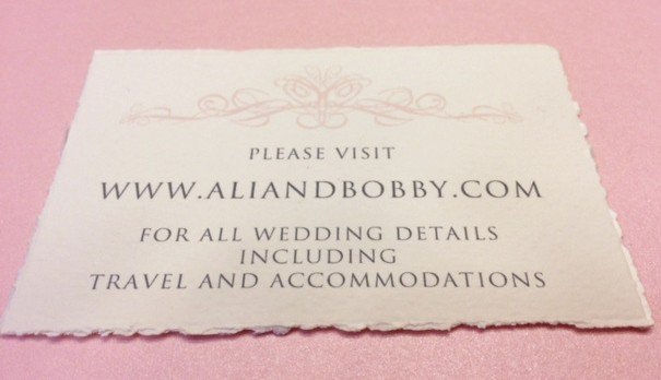 Wedding Website Card Printed with Digital Calligraphy on Fine Italian Paper in Charcoal Grey in Trajan Font Style