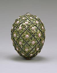 Real Fabergé Egg designed with gold and rose decorations.