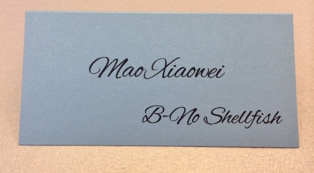 Blue Place Card with shimmer stock