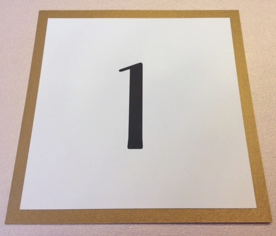 Calligraphy printed Table Number Card