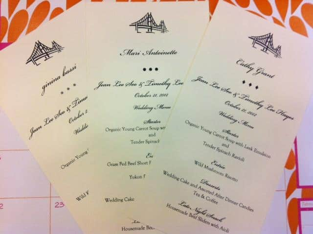 wedding menu and dinner party menu cards