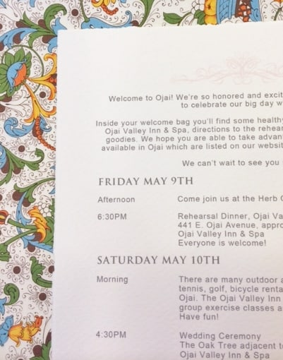Calligraphy for Wedding Itinerary for wedding in Ojai, California