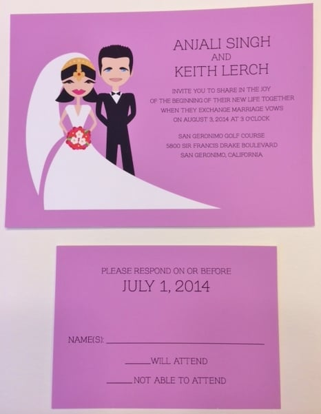 personalized caricature wedding invitation