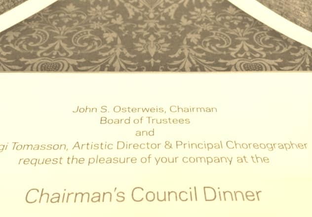 custom invitation for chairman's council dinner