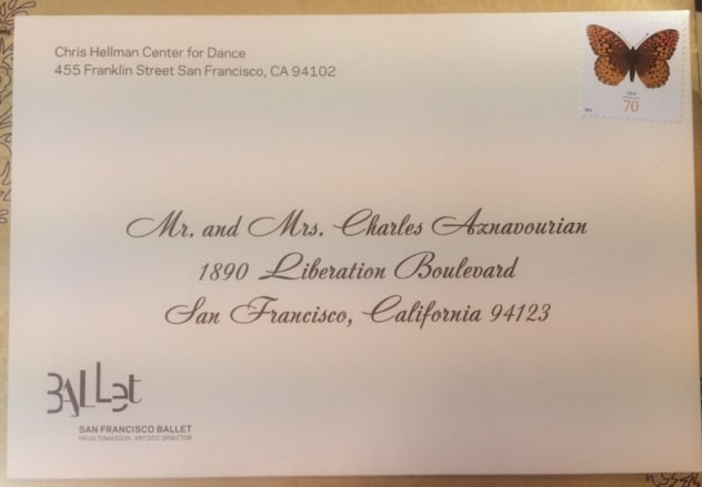 Sf Ballet Save The Date Cards Envelope Calligraphy Invitation