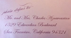 digital calligraphy for guest addressing