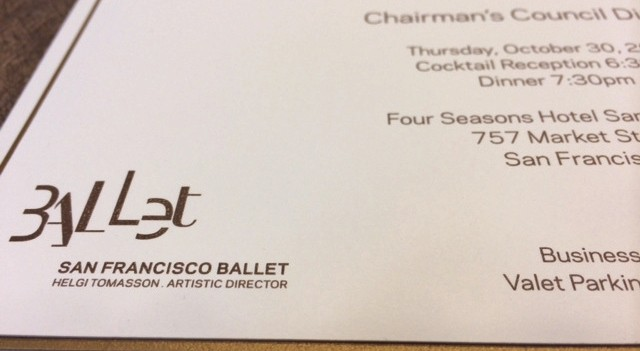 San Francisco Ballet logo printed custom invitation