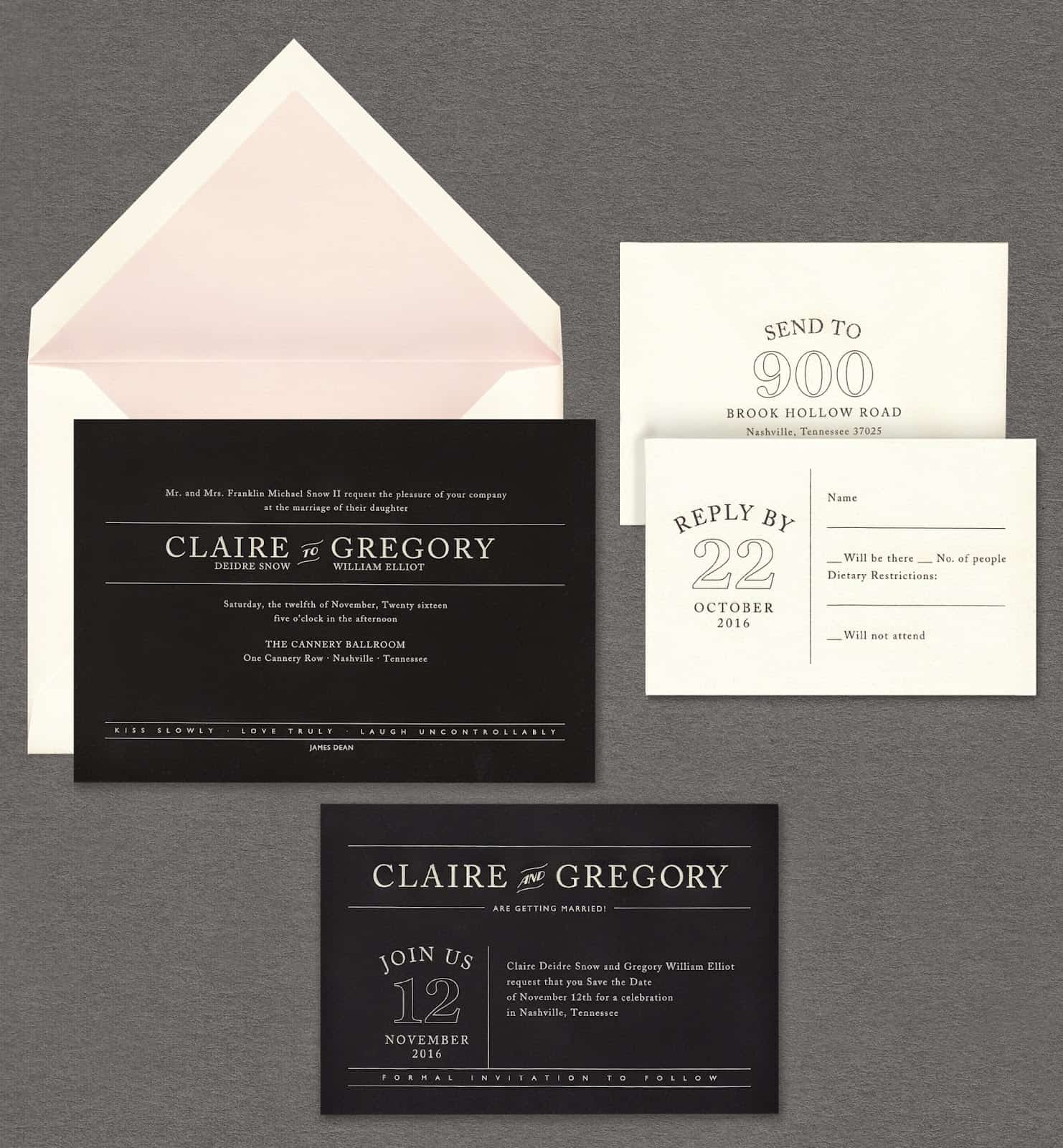 Vera Wang Weddings Volume two white on black wedding invitation