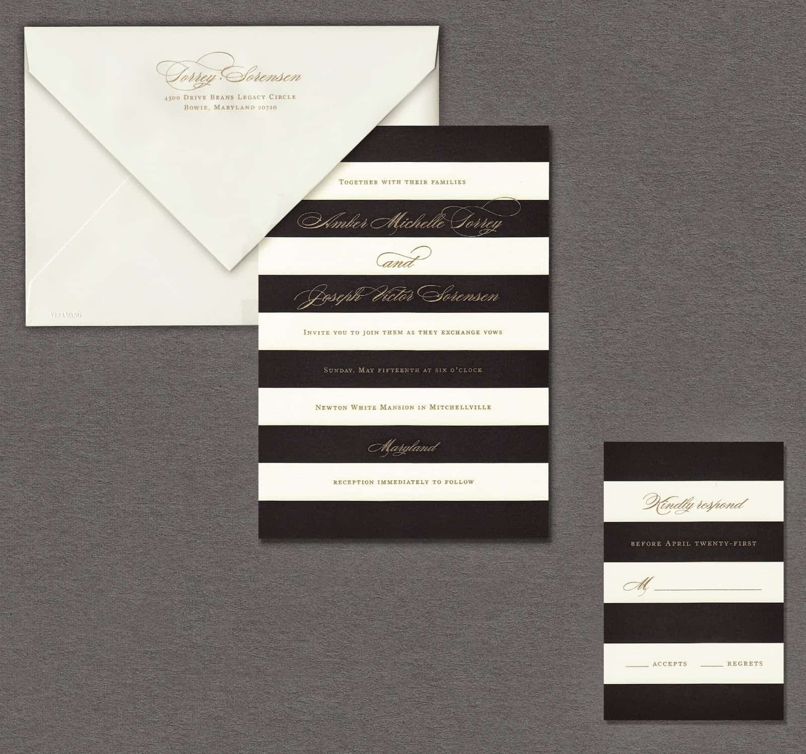 Vera Wang black and white stiped wedding invitation weddings volume two