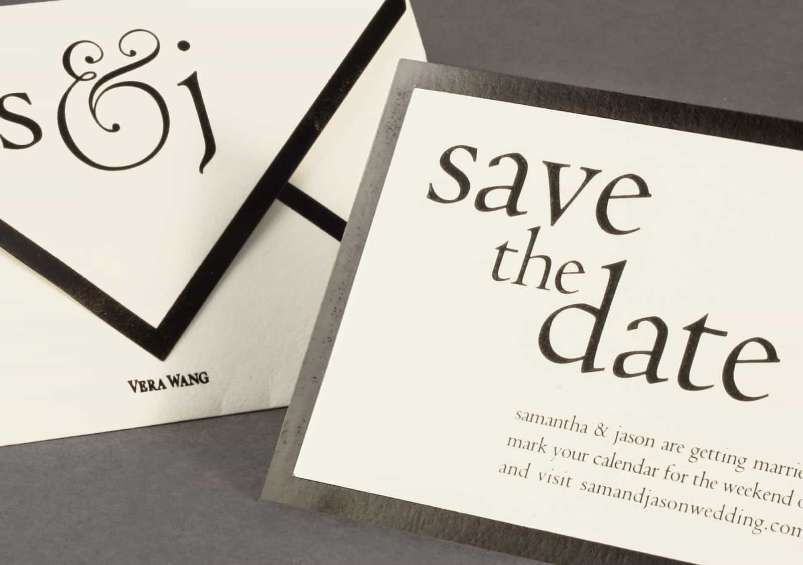 Vera Wang on Weddings Volume Two Save the date black and white