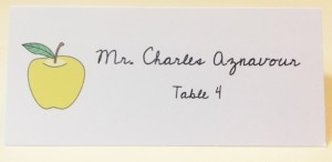 Calligraphy for apple place card