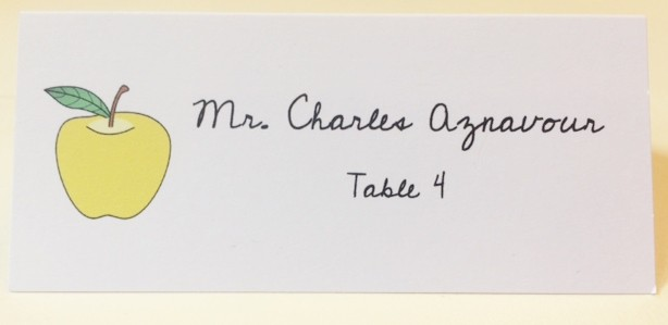 Calligraphy printed Yellow Apple Place Card