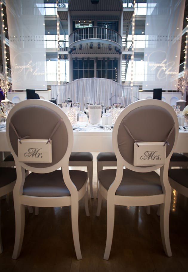 13Glamorous-Winter-Wedding-San-Francisco-Design-Center-Tia-And-Claire-Studio-mr-mrs-chairs