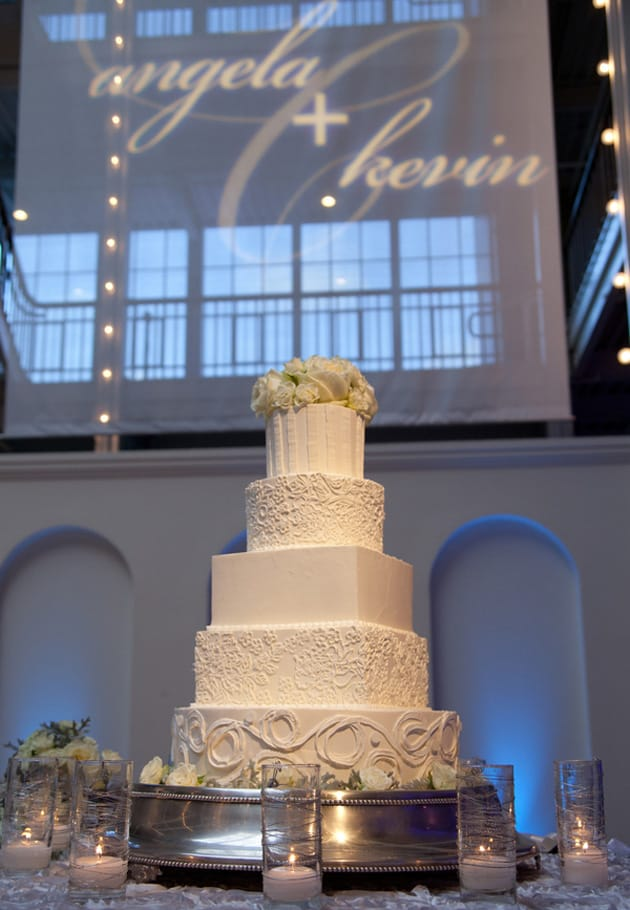16Glamorous-Winter-Wedding-San-Francisco-Design-Center-Tia-And-Claire-Studio-white-cake-lace