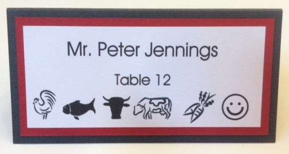 meal indicator icons printed on place card